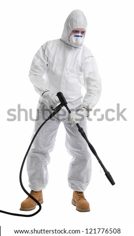 man in full protective clothing using pressure washer on white background - stock photo