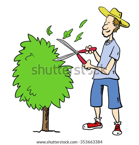 Man in garden trimming bush - stock photo