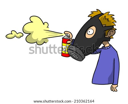 Man in gas mask spraying poison with germs/odors - stock photo