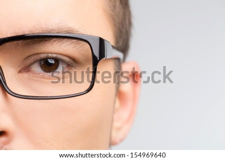 Man in glasses. Close-up cropped image of man in glasses isolated on white