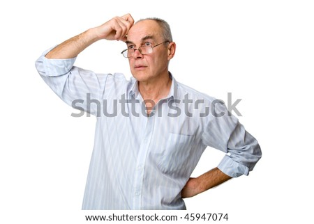 man in glasses, who was puzzled by the problem. Isolated on white background - stock photo