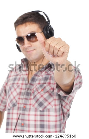man in glasses with headphones on his head, is Ok