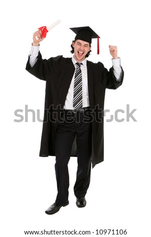 Man in graduation robes clenching fists - stock photo