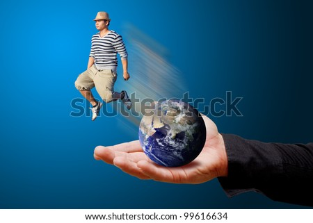 Man in hat Jump out for freedom : Elements of this image furnished by NASA