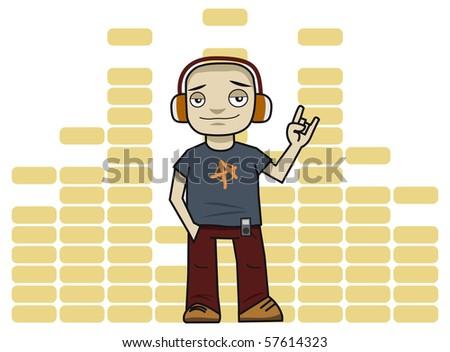 Man in headphones listens to music. - stock photo