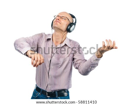 Man in headphones shows violin - stock photo