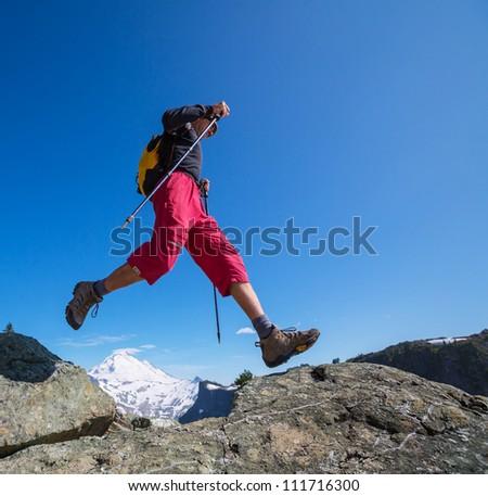 man in hike - stock photo