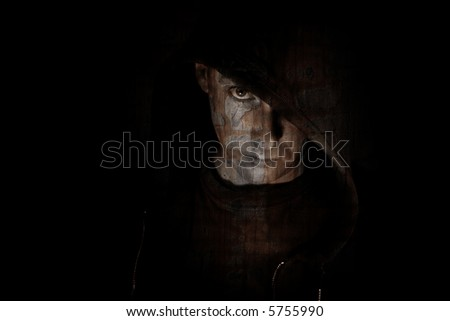 man in hood, cracked texture on face