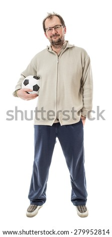 Man in indoor clothing holding soccer ball. Isolated on a white background.