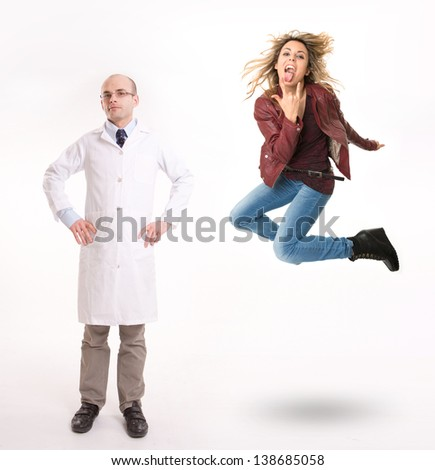 Man in lab coat and rebel teenager - stock photo
