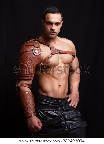 man in leather armor - stock photo