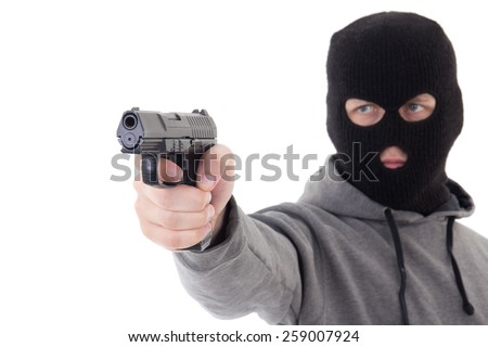 man in mask aiming with gun isolated on white background