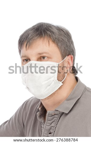 Man in medical mask isolated on white background - stock photo