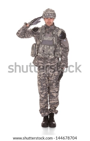 Man In Military Uniform Saluting Over White Background - stock photo