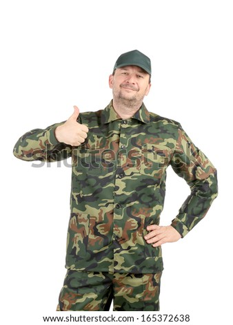 Man in military vest. Isolated on a white background.