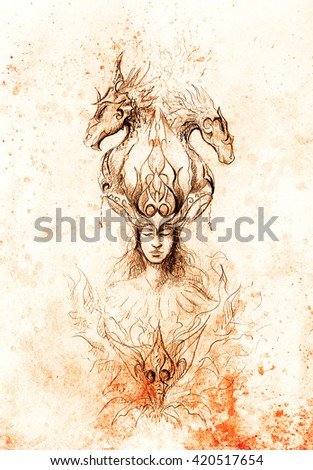 Man in mystic fire and ornamental dragons, pencil sketch on paper, sepia and vintage effect. - stock photo