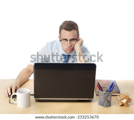 man in office boring looking for - stock photo