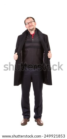 Man in opened black coat. Isolated on a white background.