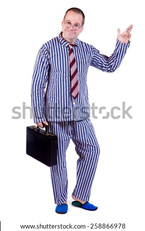 man in pajamas with suitcase isolated on white background - stock photo