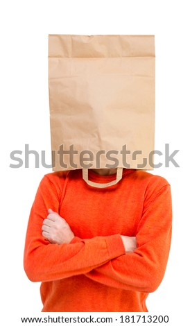 Man in paper bag on head isolated on white background.  - stock photo