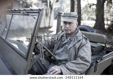 man in period accurate world war two uniform - stock photo