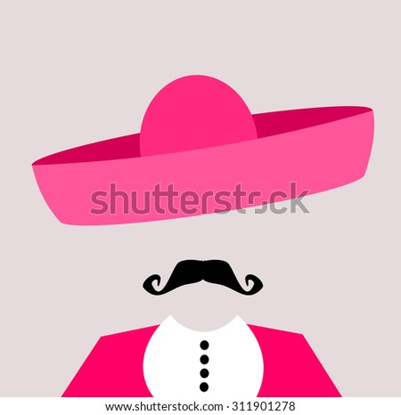 man in pink suit and sombrero - stock photo