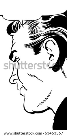 Man in profile - stock photo