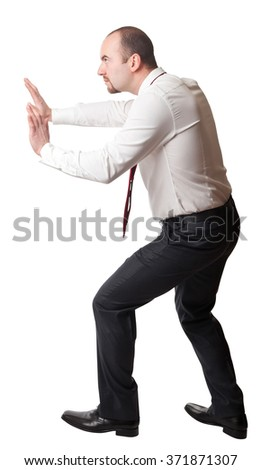 man in push position isolated on white