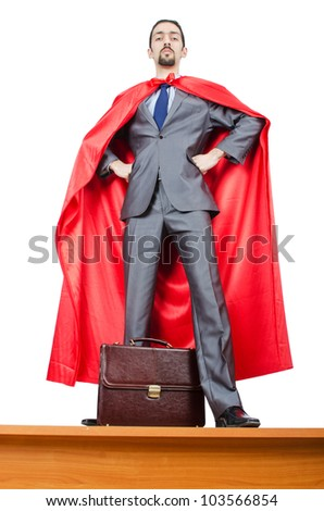 Man in red cover on white - stock photo