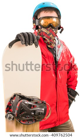 Man in red jacket standing with snowboard