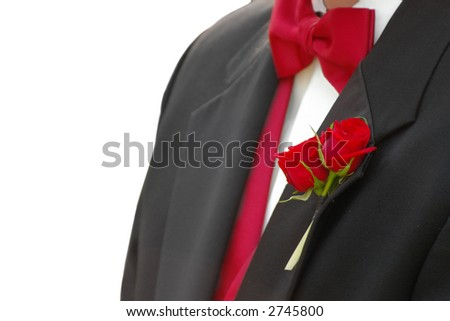 Man in red-tie tuxedo, closeup isolated on white