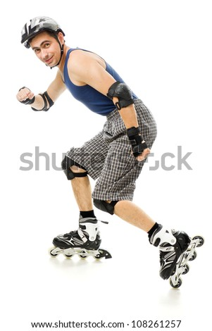 man in roller skates on a white background