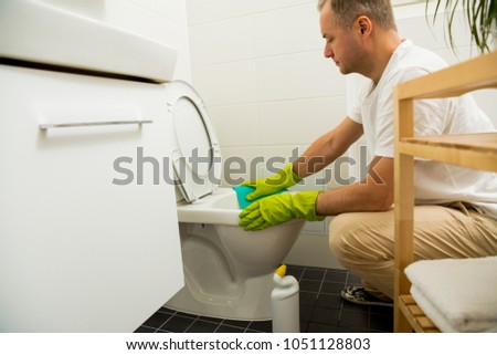 Man Rubber Protective Gloves Cleaning Washing Stock Photo - Bathroom cleaner person