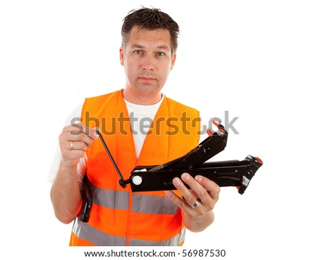 man in safety vest holding car breakdown jack over white background - stock photo