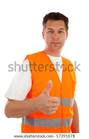 man in safety vest with thums up over white background - stock photo