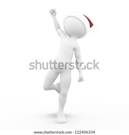 Man in Santa's Hat - stock photo