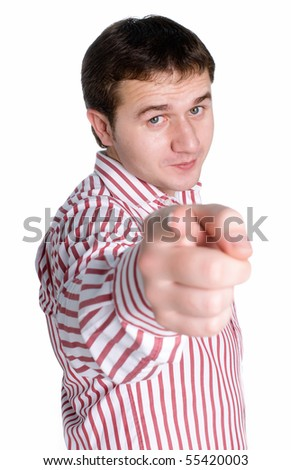 Man in shirt. Focus on face. - stock photo