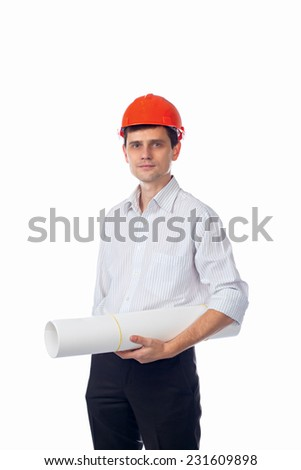 man in shirt in orange construction helmet with a roll of paper in his hands; isolate background - stock photo