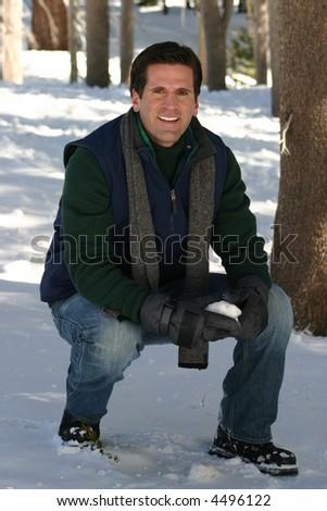 Man in Snow - stock photo