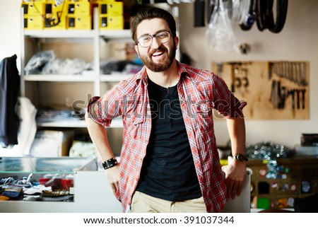 Man in store - stock photo