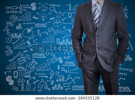 Man in suit and business plan. Business sketches on blue background - stock photo
