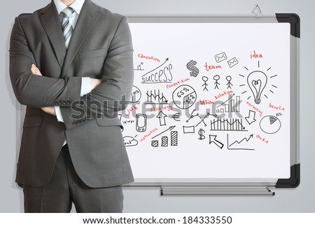 Man in suit and business plan. Business sketches on the office whiteboard - stock photo
