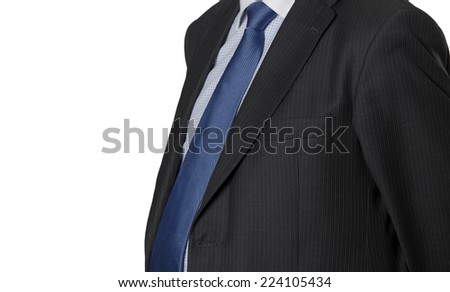 Man in suit detail isolated on white. Horizontal format