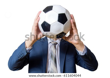 man in suit holding a soccer ball instead of a face isolated on white background