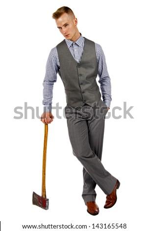 Man in suit issolated on a white background leaning on an old axe. - stock photo