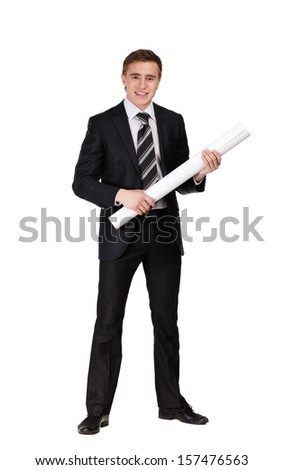 Man in suit keeping blueprint, isolated on white