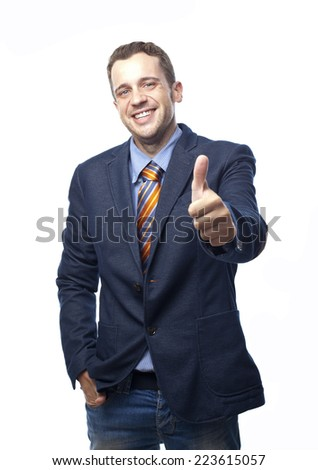 Man in suit ok gesture