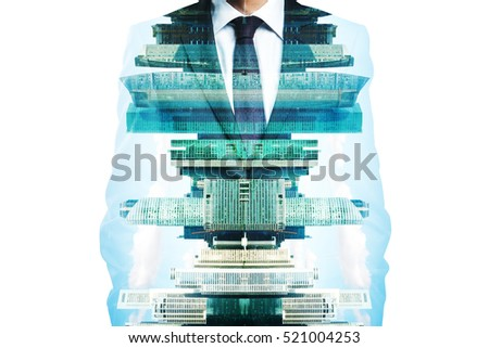 Man in suit on abstract city background. Double exposure