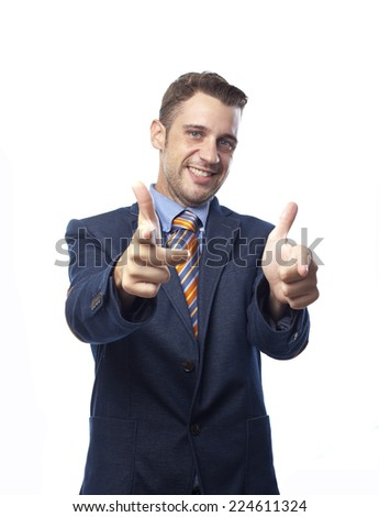 Man in suit pointing at you - stock photo