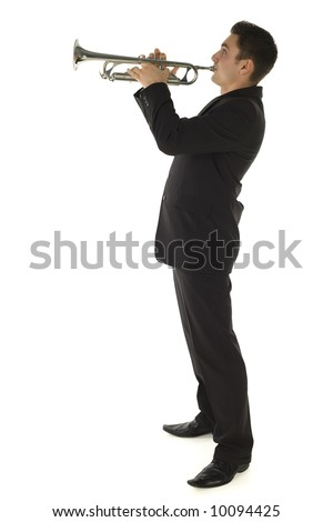 Man in suit standing and trumpet melody. Whole bod. Side view. Isolated white background.
